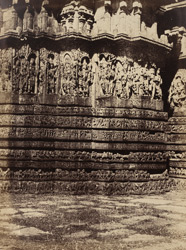 Sculptured buttress on the west side of the Hoysalesvara Temple, Halebid. 95929
